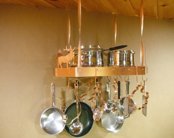Solid Copper Hanging Pot Rack