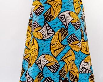 Mustard & Blue 'Scales' Wrap Skirt