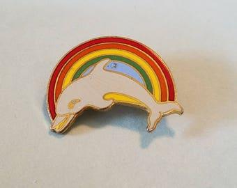vintage rainbow dolphin pin, rainbow dolphin, dolphin brooch, dolphin pin, Pinnacle designs pin, Pinnacle designs brooch