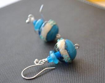 Ocean Ball Earrings, Lampwork Glass Earrings, Blue Earrings, Wave Earrings, Water Earrings, Beach Earrings, Resort Wear Earrings
