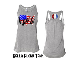American Flag - Tank Top -  Womens - Graphic Tee - Personalized - USA - 4th of July - Patriotic - Shirt - Fourth of July