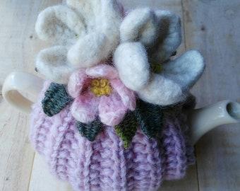 Hand knit tea cosy/ Tea Cozy/ Small tea cosy/ pale pink blossom tea cosy