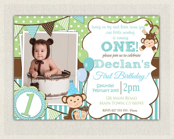 Boys blue and green monkey 1st birthday invitation printable filmwisefo Image collections