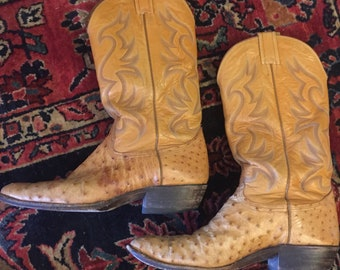 Perfectly Broken-In Vintage Men's Ostrich & Leather Cowboy Boots by Nocona