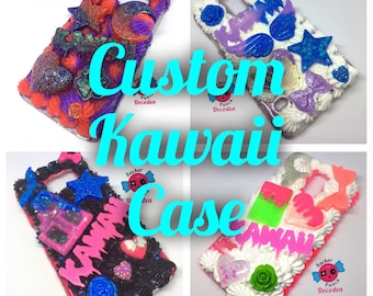custom kawaii decoden case, kawaii phone case, decoden case, whip phone case, decoden phone case, decocase
