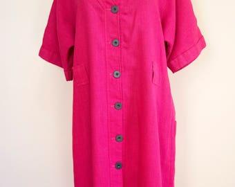 80s 90s Jeanne Lanvin Fuchsia Button Down Linen Dress Size Medium Large