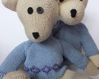 teddy bear Augustus in blue jumper
