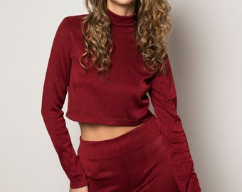 90s Style Jersey Long-Sleeve Crop Top