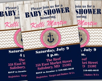 Nautical Baby Shower Invitation. Girl Baby Shower Invite.  Anchor Baby Shower. Girl Nautical Party. Girl Shower Invite BBNA01