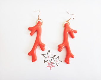 Red Acrylic Coral Earrings / Coral Stick / Red-Orange Color / Gold Plated Brass Ear Hook / Handmade Earrings