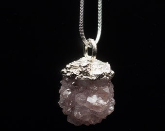 Raw amethyst crystal necklace in silver, electroformed jewelry, silver pendant with amethyst on a chain
