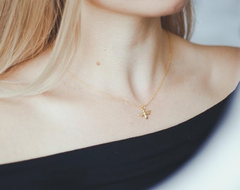 24k Gold Bee Necklace   Tiny Honey Bee Gold Necklace   24k Gold Honeycomb Necklace   Bee Necklace   Honeycomb Jewelry  