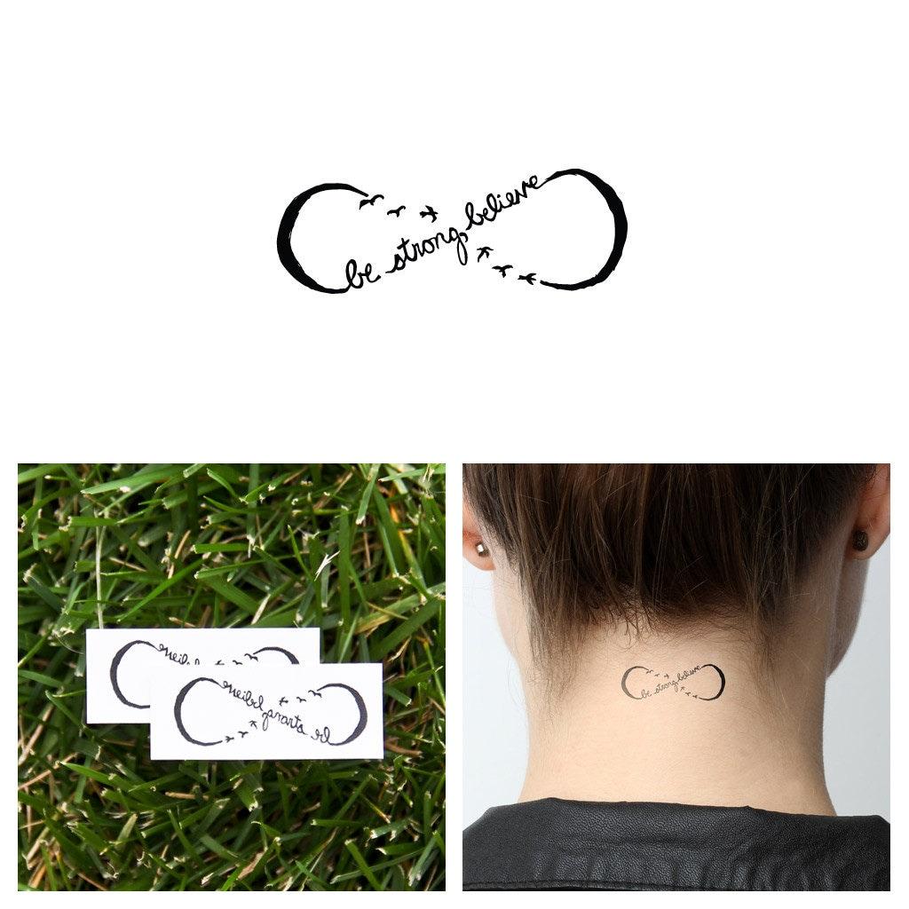 Infinity believe symbol temporary tattoo set of 2 zoom buycottarizona