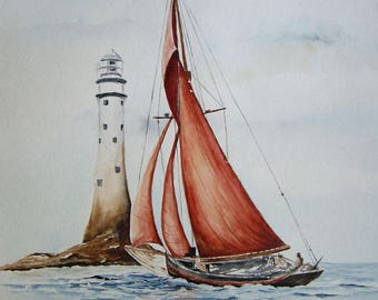 Painting, painting, original watercolour, fishing boat, Brittany, 30 X 40 cm, fishing in Britain
