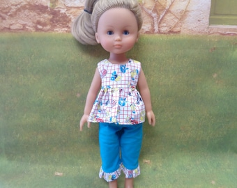 Western Turquoise Top and Capris - for 14 Inch Dolls- Fits -Hearts 4 Hearts- Les Cheries Dolls
