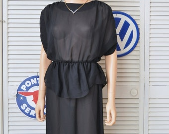 Vintage 70s 80s Womens Sheer Black Dress Disco Bodycon Wiggle Ruffled Peplum Uptown Expressions Small Juniors Polyester Retro 80s does 40s