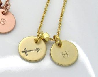 Zodiac Jewelry • Gold Zodiac Necklace• Sagittarius Necklace • Zodiac and Initial Necklace • Sagittarius Jewelry• Teen Gift• Best Friend Gift
