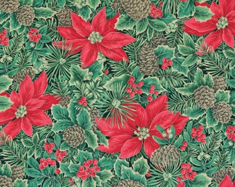 Christmas Fabric Red Poinsettia on Black Background VIP Print Cranston Print Works Co.100% Cotton 1 Yard.