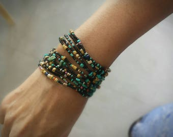 Taos Turquoise and Black and Sand - Long Seed Bead Strand  - Wear as Necklace Bracelet or Anklet