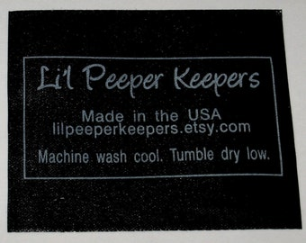 Custom BLACK Satin Labels - Clothing Labels - Silver or Gold Imprint - SCREENPRINTED - 100 - made in USA