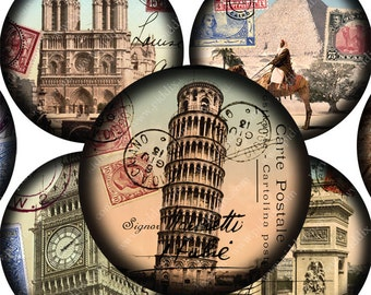 Vintage French Paris London Italy Pyramids World Tour Digital Collage Sheet 2.5 Inch Circles for Pocket Mirrors Jewelry & More piddix 875