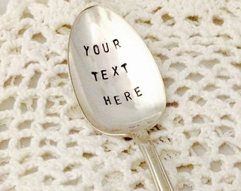 Customized Stamped Spoon, Your Message On Spoon, Personalized Gift, Stamped Spoon