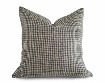 Green Rustic Pillow, Green Tan Pillow, Textured Pillow Cover, Wool Pillows, Green Plaid Pillow, Rustic Fall Decor, 14x20 Lumbar 18, 20 22 26