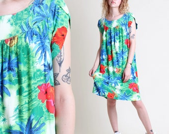 vintage 70s PINEAPPLE + HAWAIIAN print TRAPEZE dress size S M L / floral tropical tent day sun dress 1970s 1980s