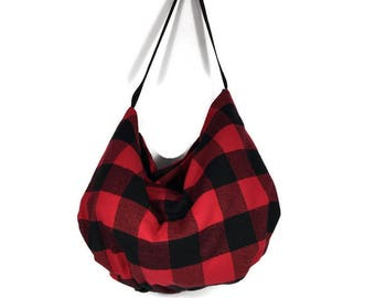 FREE SHIPPING Buffalo Plaid Bags Buffalo Check Bags Red and Black Buffalo Check Plaid Hobo Bag Red and Black Buffalo Check Flannel Hobo Bag