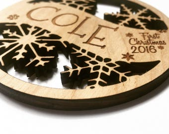 Cole - Any Name - Customizable Baby's First Christmas Ornament - Engraved Birch Wood Ornament
