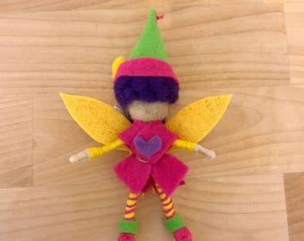 Valentine's Pink Felt Fairy Bendy Doll, Small Felt Fairy, Dollhouse Fairy, OOAK, Handmade, Waldorf fairy, Wee folk, Elf, Woodland Fairy