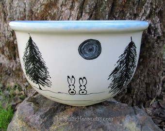 Winter bunnies serving bowl bunny rabbit large serving mixing bowl made to order