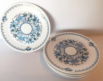 "6 Noritake Progressive China ""Blue Moon"" Bread and Butter Dessert Plates #9022"