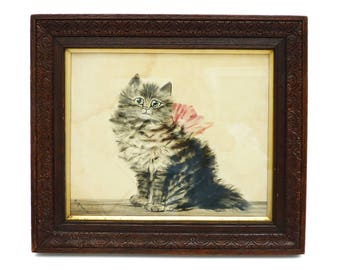 Pretty Antique Cat Painted On Velvet Circa 1900 In Carved Wooden Frame, Under Glass, Victorian Cat Collectible, Cat Painting