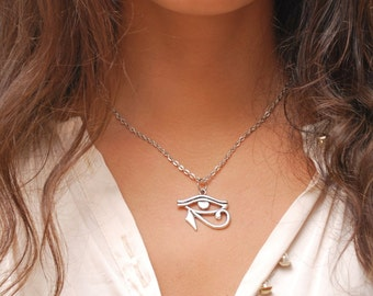Silver eye necklace, Egyptian necklace, eye of horus pendent, egyptian jewelry, protection necklace, egyptian revival.
