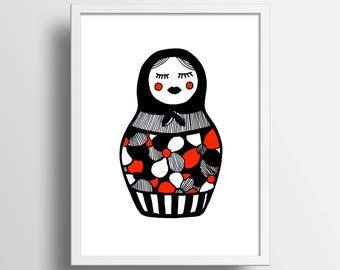 """Illustration """"Matriochka"""" A4 Print"""