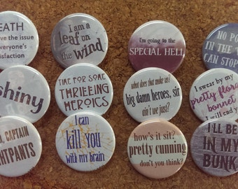"""Firefly Serenity buttons 1.25"""" / 32mm pin back badges"""