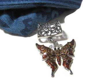 Brown Butterfly Scarf Pendant Charm - Metal Scarf Jewelry Slide - Scarf Necklace - Scarf Pendant Bail Charm