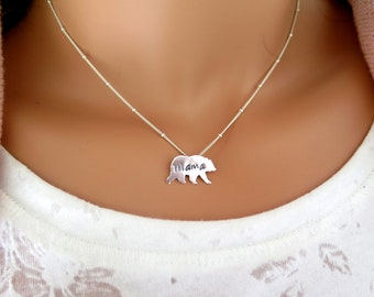 Mama bear, Gift for mom, Birthday gift, Sterling silver mama bear necklace, Engraved necklace, Personalized gift, Mothers day gift, For mom,