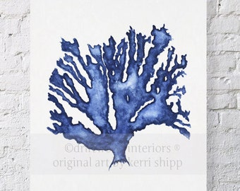 Sea Coral in Denim Watercolor Print 8x10 - Blue Coral Print - Blue Seaweed Print - Marine Life Print