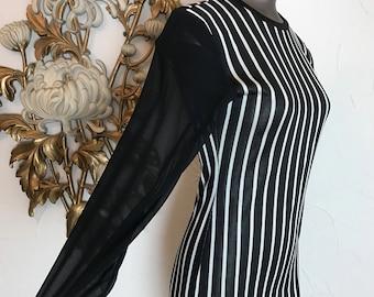 1980s dress striped dress club dress black and white vintage dress size small 32 bust long sleeve dress faust dress 80s dress