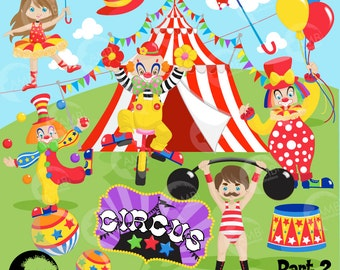 Circus Clipart pack, Clown clipart, circus clowns, tightrope walker, Carnival Birthday, strongman, commercial use, AMB-1160