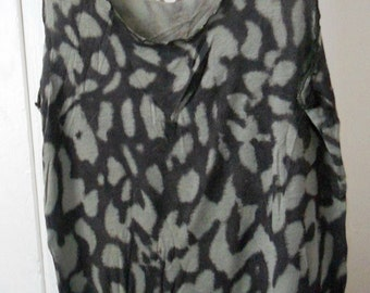 Sweater Tank Top - Handmade Mocha Brown with Olive Green Tunic Shirt Amoeba Spots - Women's Yoga Clothing