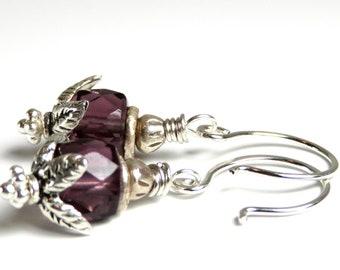 Subtle - Purple Flourite, Hill Tribe Fine Silver, Sterling Silver Earrings