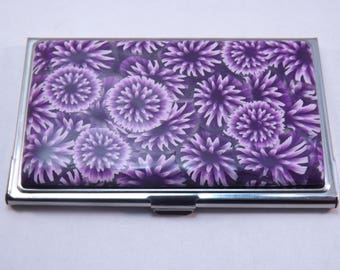 Handcrafted Polymer Clay Embellished Business Card Case, Purple Dahlias