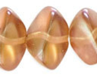 NEW Fabulous Wonky Ovals Honey Glaze Czech Glass Beads 11x15 mm 6pcs
