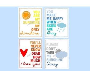 "Wall art for kids // Colorful Nursery Decor // You are my sunshine prints // Rainbow Nursery Art // Set of Four 11x14"" PRINTS ONLY"