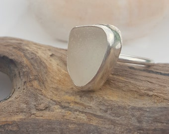 Sea Glass Ring Mini Ring Stacker Ring Stacking Ring Frosty White Sea Glass Ring White Beach Glass Jewelry  Size 6 - R-191 Mothers Day Sale