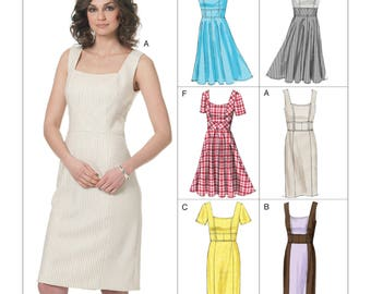 Vogue V8648 Easy Option Vintage Style Princess Seam Dress with Sleeve and Skirt Options Sewing Pattern