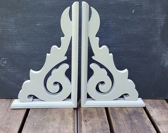 Pair Of White Wood Corbels, 13 By 8 Inches